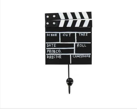 Custom Made Black & White Metal Movie Clapboard With Hook