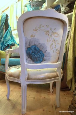 Custom Made Hand Painted Floral Berger Chair
