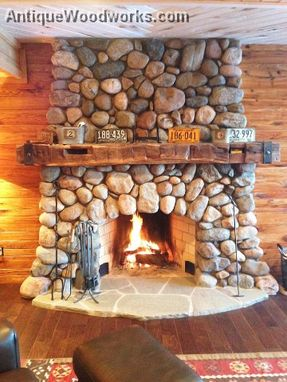 Buy Handmade Fireplace Mantel With Metal Straps Made To Order From Antique Woodworks