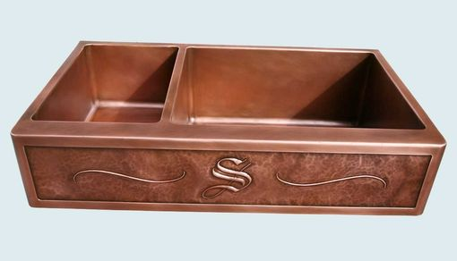 "Custom Made Copper Sink With Planished Repousse ""S"" Apron"