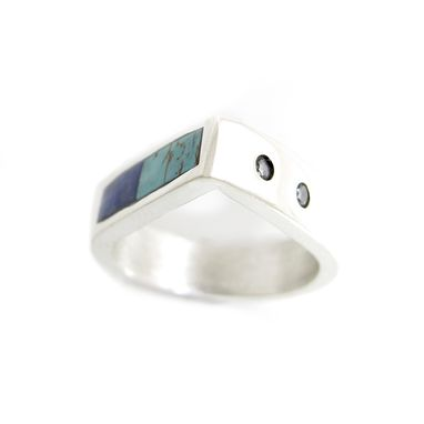 Custom Made Teardrop Inlay Turquoise Ring With Flush Set Gemstones