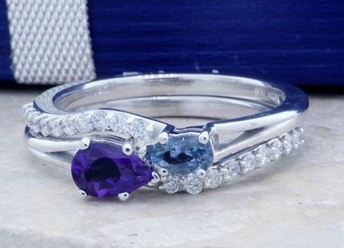 Custom Made Intertwined Infinity Birthstone Bridal Set