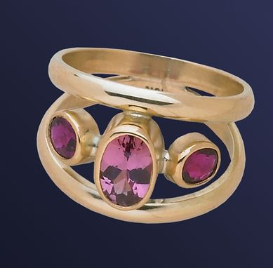 Custom Made Pink Tourmaline And Floating Ruby Ring