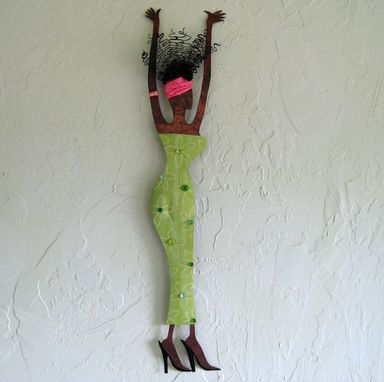 Custom Made Handmade Upcycled Metal Exotic African Lady Wall Art Sculpture In Lime Green
