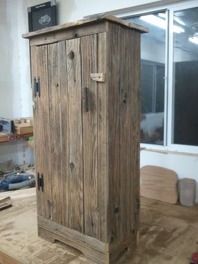 Custom Made Aged Barnwood Jelly Storage Cabinet