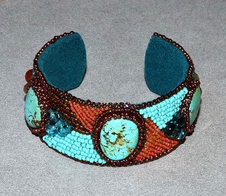 Custom Made Turquoise Bead Embroidered Cuff Bracelet