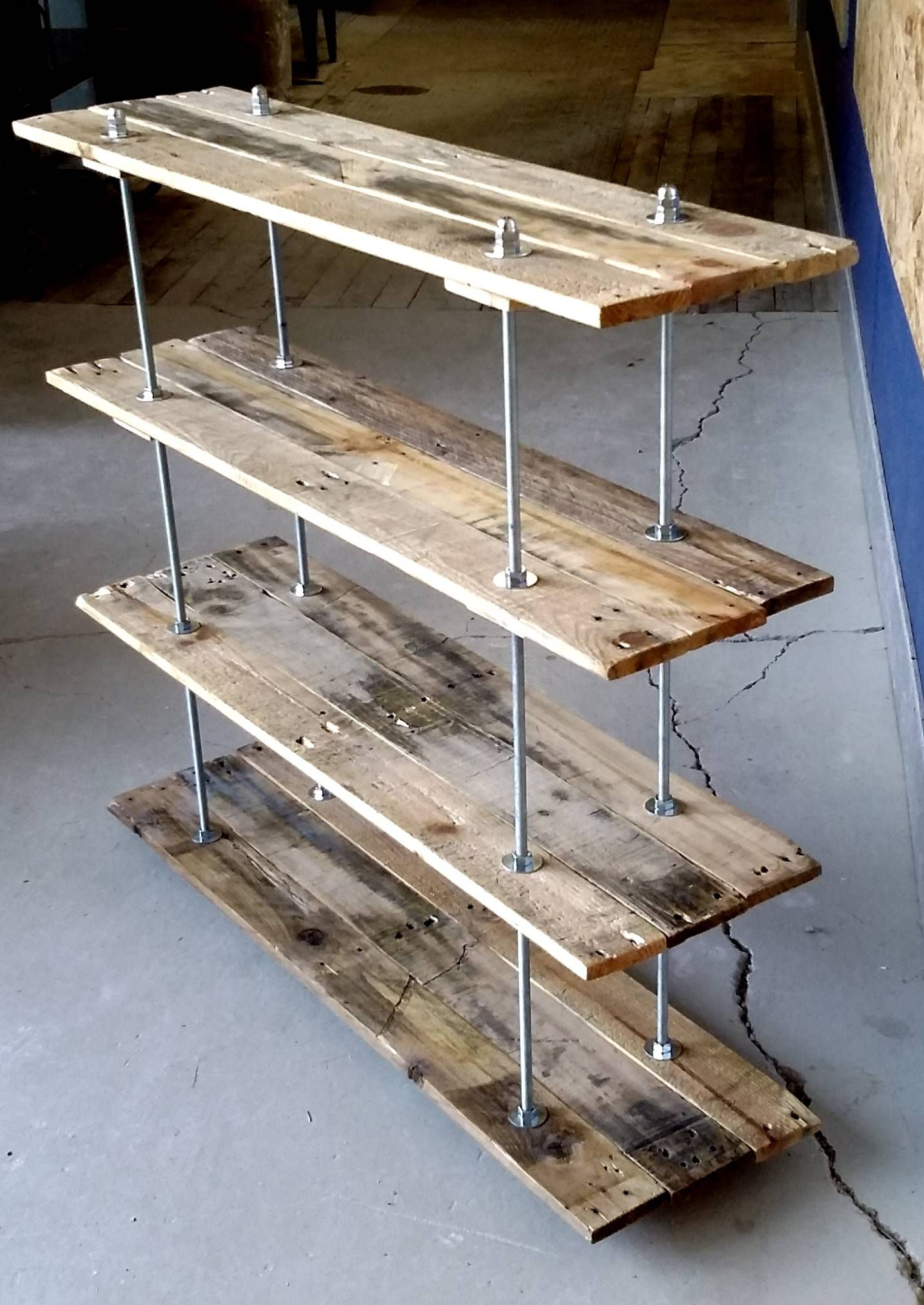 Buy Hand Crafted Vintage Pallet 4 Shelf Unit Industrial