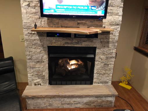 Custom Made Fireplace Mantle Hickory Live Edge Floating