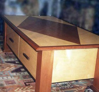 Custom Made Maple And Mahogany Inlaid Coffee Table