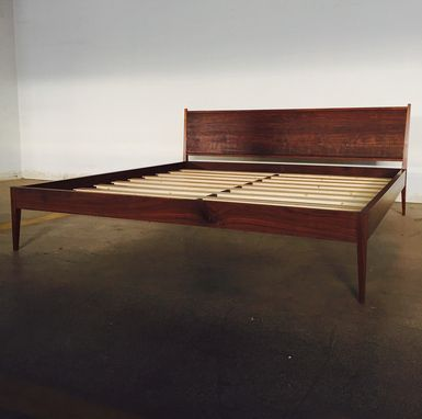 Custom Made King Size Modern Bed In Walnut