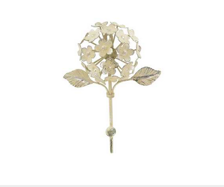 Custom Made Off-White Metal Flower Hook With Leaves