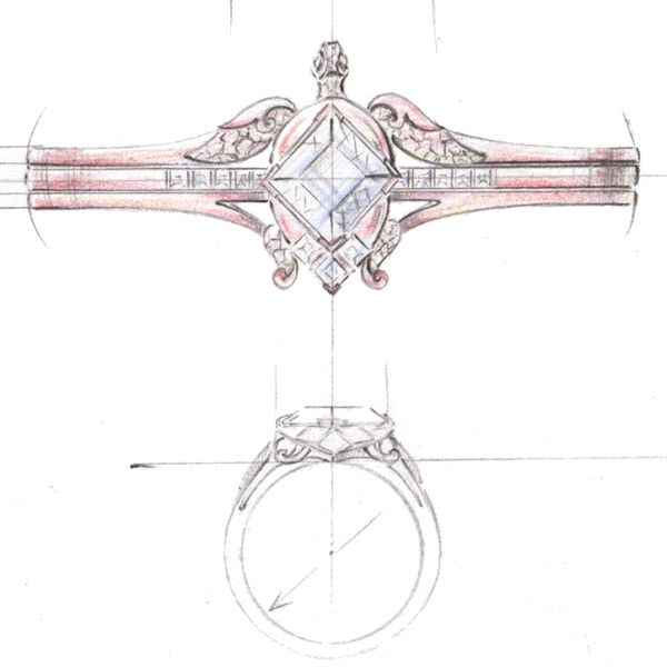 Modern, angular gem settings contrast with the natural turtle design in this design sketch for a rose gold engagement ring.