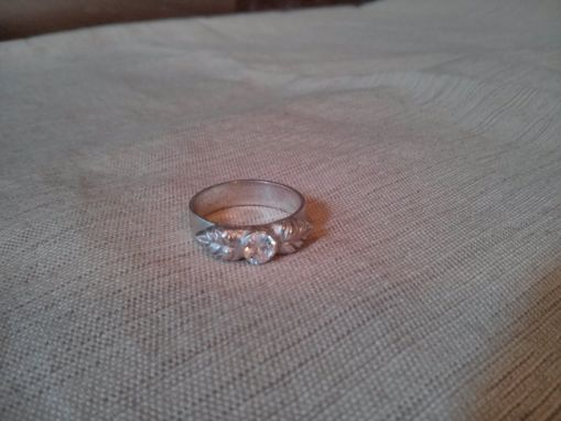 Custom Made Fine Silver Cubic Zirconia Ring