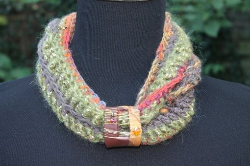 Custom Made Zucchini Squash - Womens Scarf, Mixed Fiber Double Twist Neck Wrap With Embellished Clasp