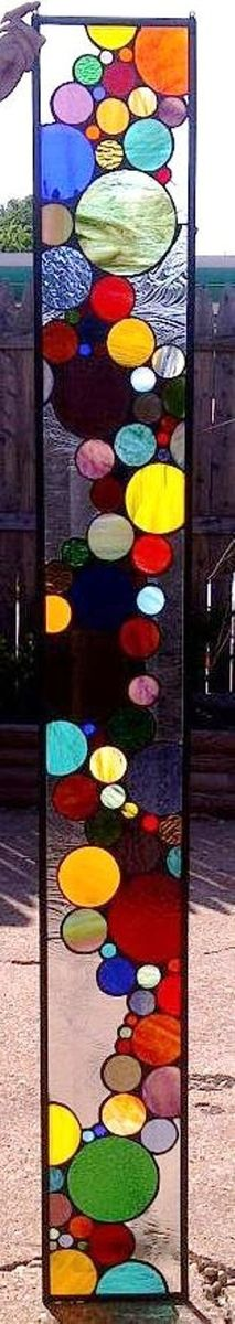 Custom Made Stained Gl Window Panel Contemporary Bubble Sidelight S 3