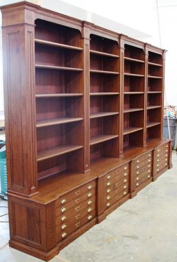 Custom Made Bookcase With Map Drawers