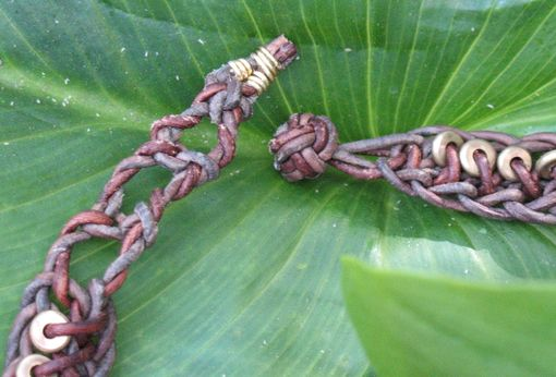 Custom Made Braided Leather Necklace: Brown With Copper Beads