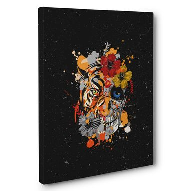 Custom Made Skull Tiger Floral Canvas Wall Art