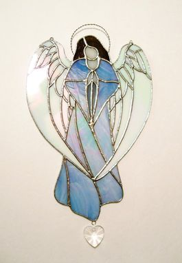 Custom Made Guardian Angel In Iridescent Sky Blue Stained Glass- Sun Catcher