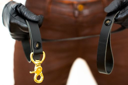 Custom Made Commande Leash - Black Latigo Leather - Ebony & Brass Rivets