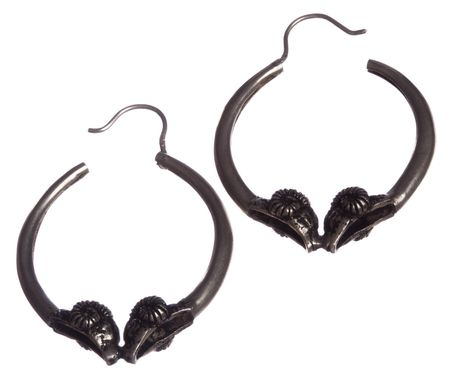 Custom Made Sterling Silver Large Double Headed Ram Hoop Earrings With Antique Finish