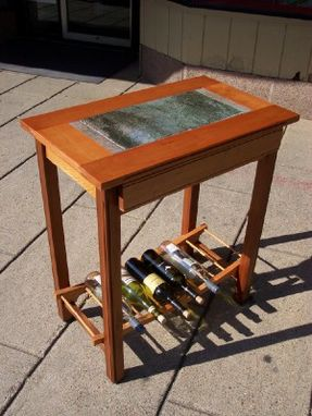 Custom Made Wine Table With Stone Tile Inlay