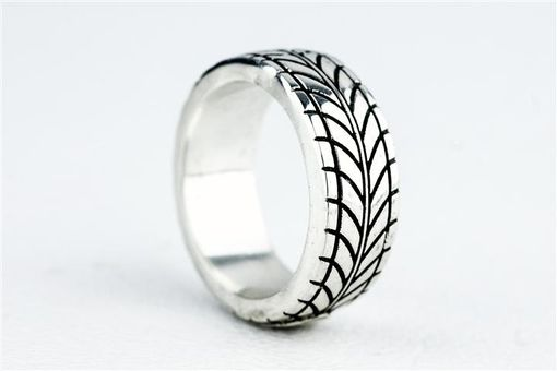 Custom Made Tire Tread Ring Car Enthuisiast Ford Sports Car Silver