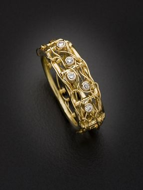 Custom Made Narrow Bamboo Ring With 5 Diamonds