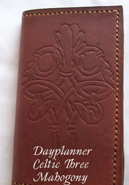 Custom Made Custom Leather Day Planner With Celtic 3 Design And In Dark Mahogany