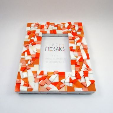 Custom Made Orange Mosaic Picture Frame