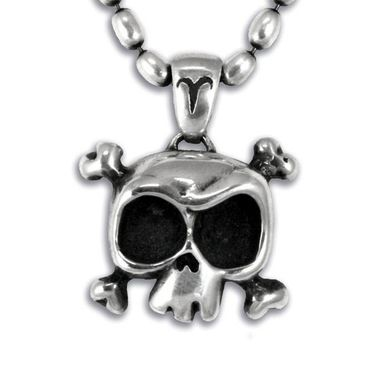 Custom Made Louie The Skull Pendant Neckalce In Sterling Silver