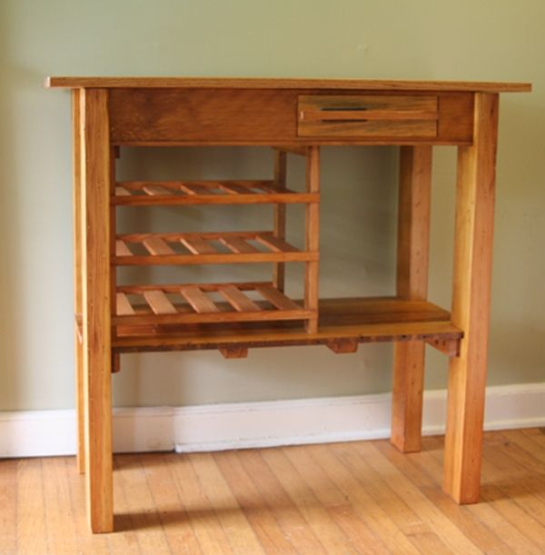 Hand Crafted Oak And Heart Pine Wood Wine Table Made From