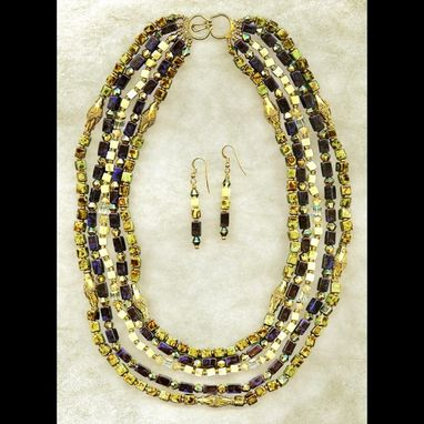Custom Made Nefertiti 5-Strand Necklace & Earring Set