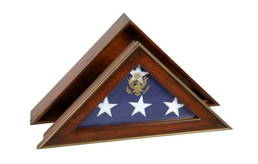 Custom Made Five Star General Flag Case, Burial Flag Display Case