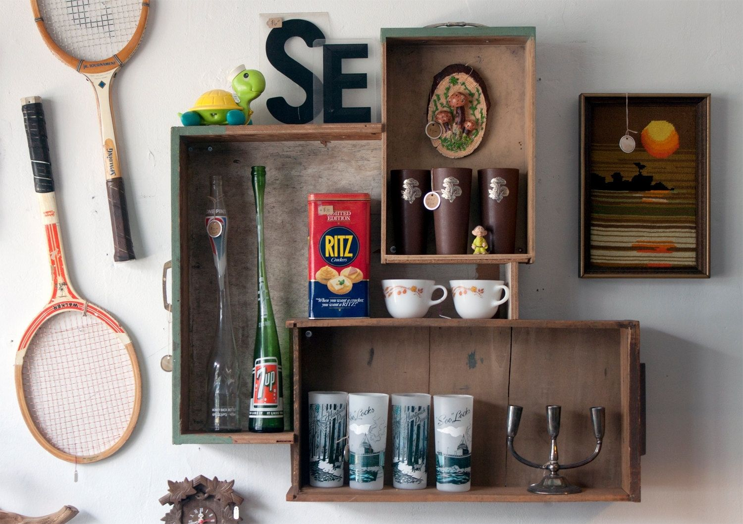 Handmade Reclaimed Drawer Wall Shelf Collage By Whisky