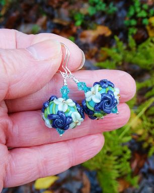 Custom Made Lampwork Glass Floral Round Drop Earrings With Swarovski Crystals In Sterling Silver