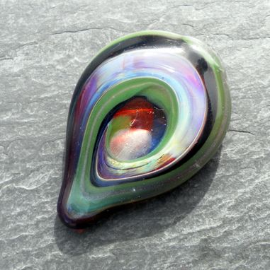 Custom Made Hand-Blown Glass Guitar Pick With Multi-Colored Abstract Design