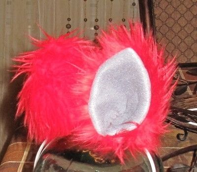Custom Made Red Luxury Shag Faux Fur Costume Ears With Metal Snap Hair Clips