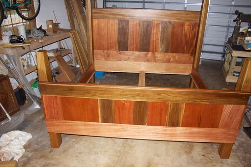 Custom Made Old Growth Teak And African Mahogany King Bed