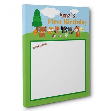 Custom Made Woodland Creatures Birthday Guestbook Canvas Wall Art