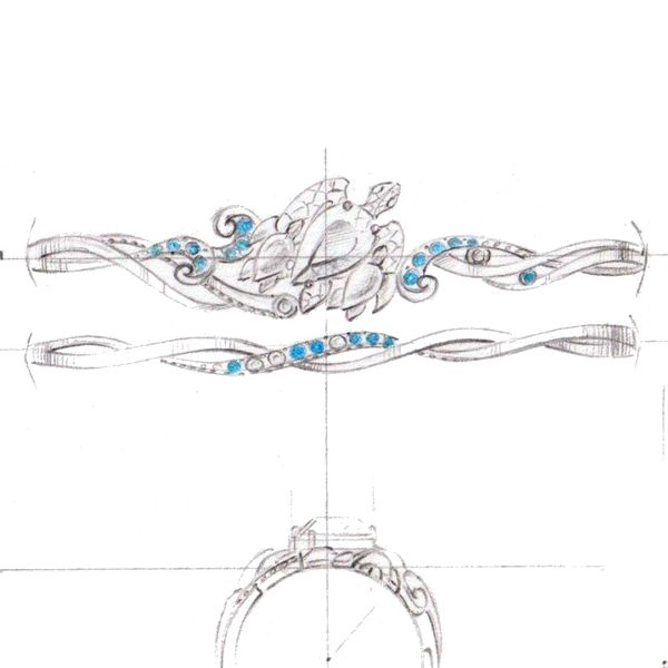 Design sketch for a bridal set with a family of turtles as the center setting, swimming over a sapphire-studded band.