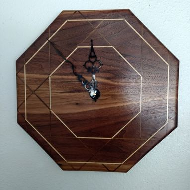 Custom Made Handcrafted Octagonal Wall Clock With Maple Inlay