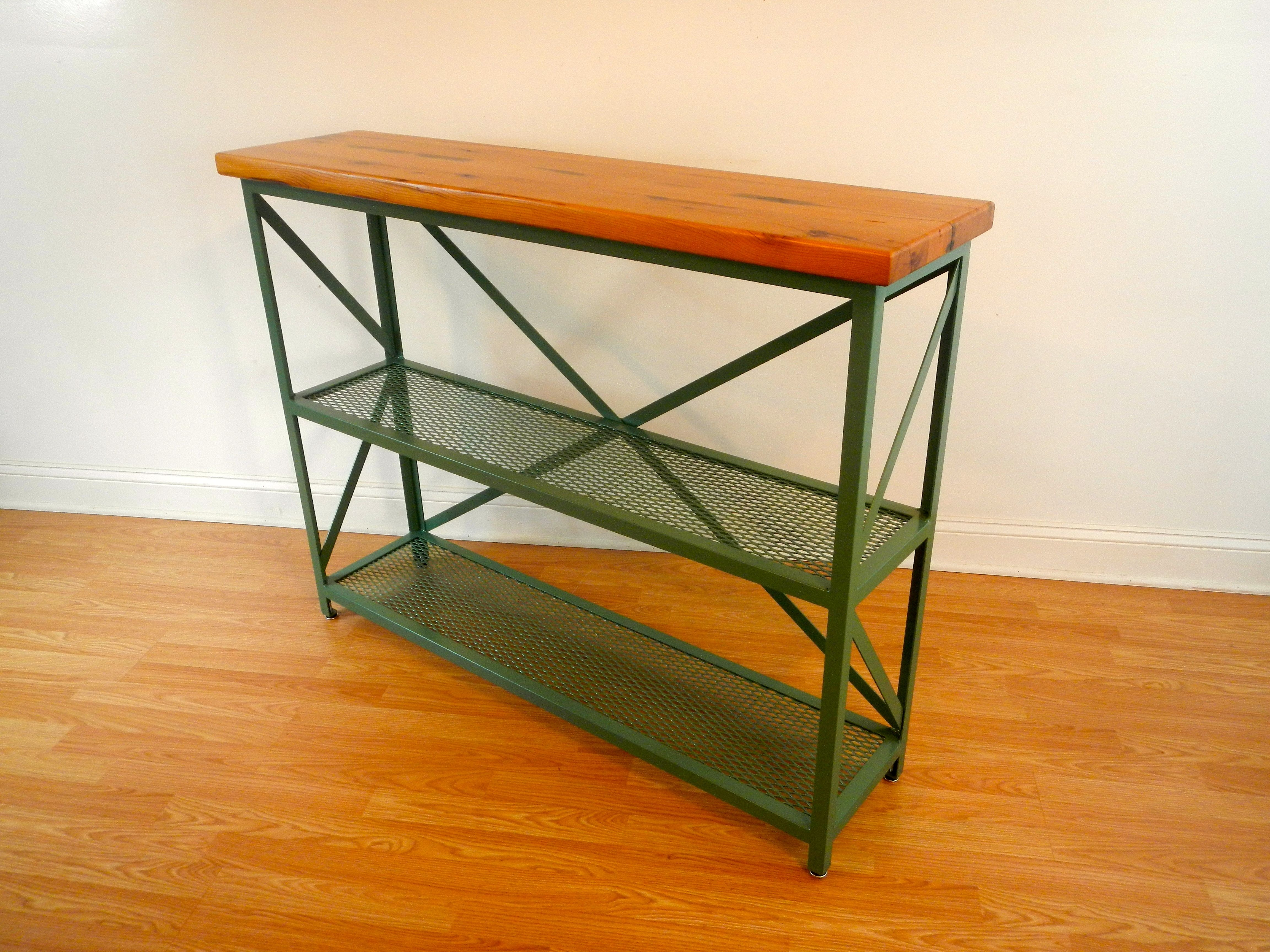 Handmade Welded Steel And Reclaimed Wood Console Table