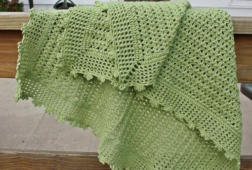 Custom Made Crochet Baby Blanket - Lacy Shell Pattern With A Picot Edge In Green