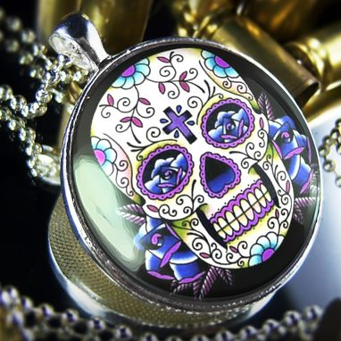 Custom Made Large Blue Dia De Los Muertos Sterling Silver Necklace 56-Slrn