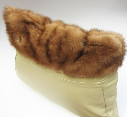 Custom Made Upcycled Beige Leather And Mink Fur Throw Pillow