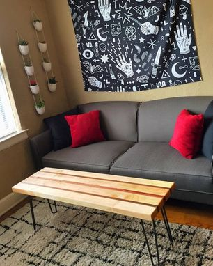 Custom Made Mid Century Modern Hardwood Table With Hairpin Legs