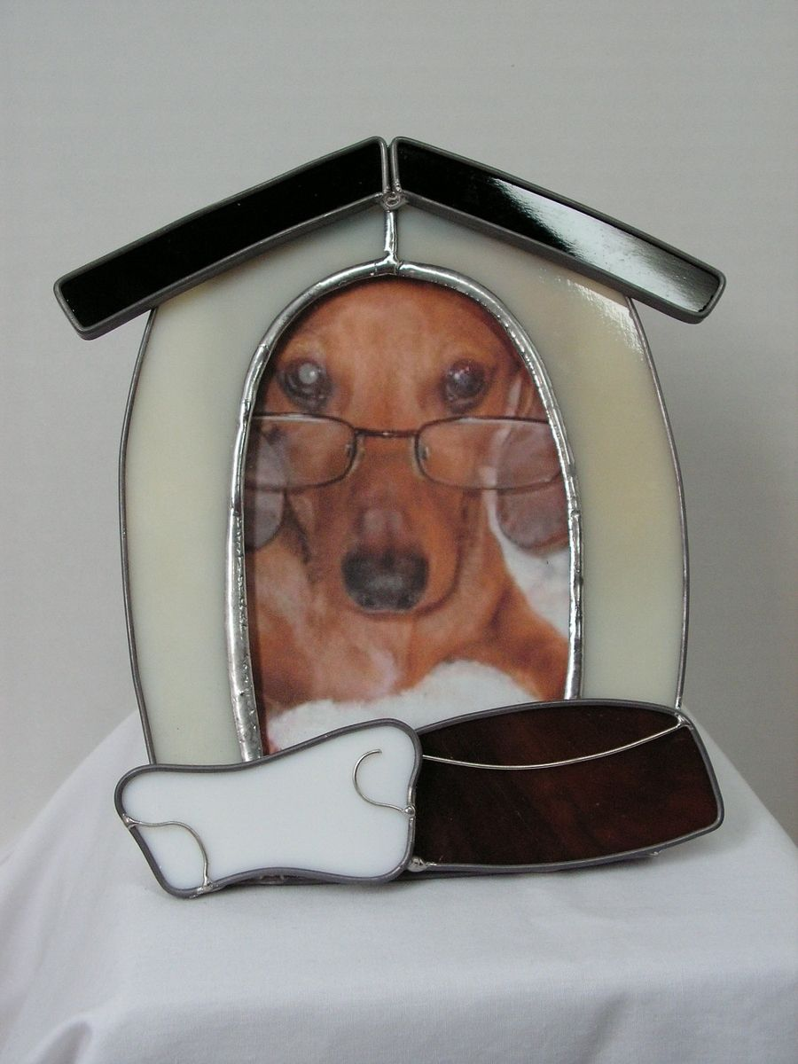 Custom Made Stained Glass Dog House Picture Frame by ...