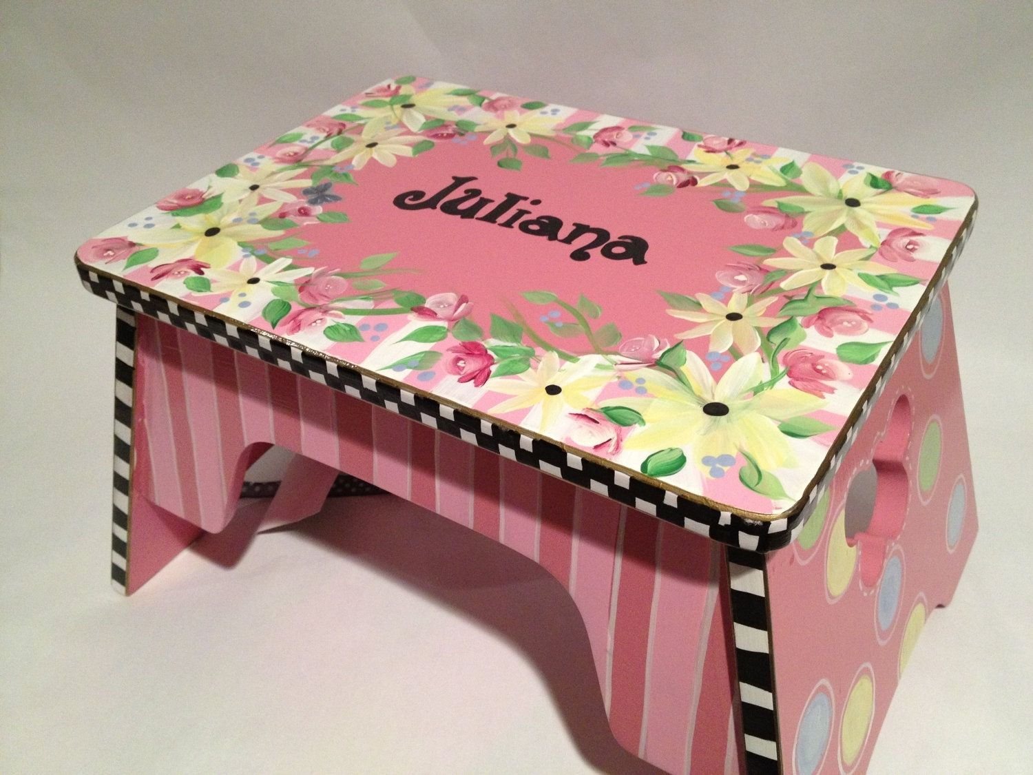 Child Step Stool Wood Painted