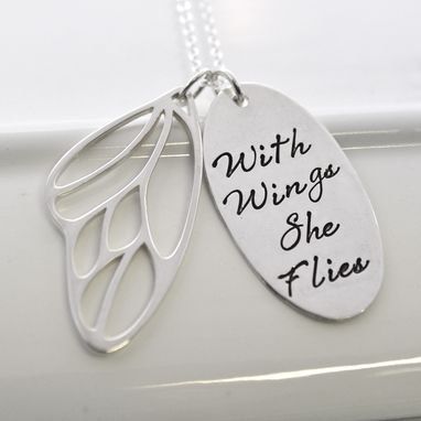 Custom Made With Wings She Flies Butterfly Wing Necklace